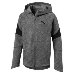 Thumbnail 1 of Active Boys' Evostripe Full Zip Hoodie, Medium Gray Heather, medium