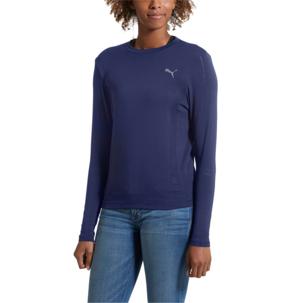 evoKNIT Seamless Long Sleeve Top, Peacoat, large