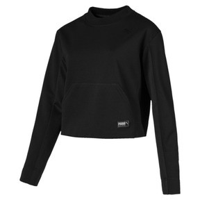 Thumbnail 1 of Fusion Women's Cropped Crew Sweater, Cotton Black, medium