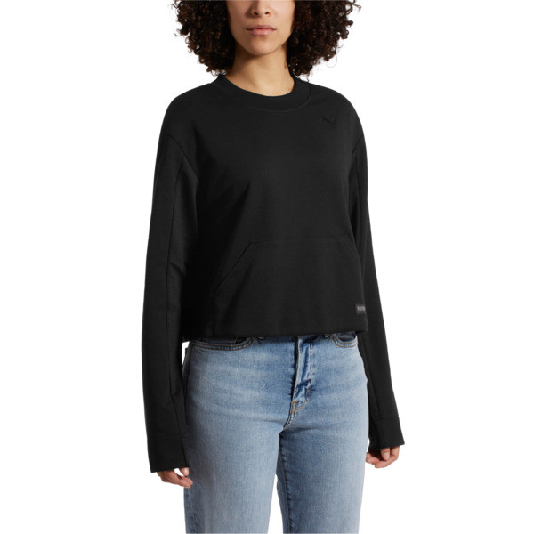Fusion Women's Cropped Crew Sweater, Cotton Black, large