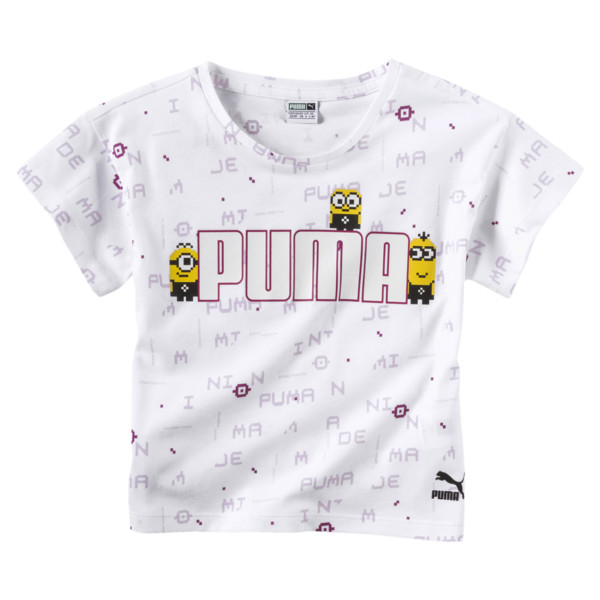PUMA x MINIONS Girls' Tee, Puma White, large