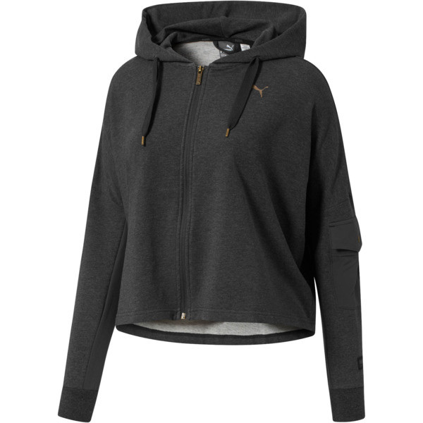 FUSION Full-Zip Hoodie, Dark Gray Heather, large