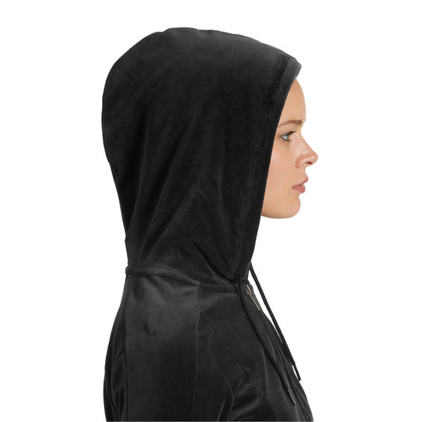 Essentials+ Velour Hooded Jacket, Cotton Black, large