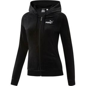 Thumbnail 2 of Essentials+ Velour Hooded Jacket, Cotton Black, medium