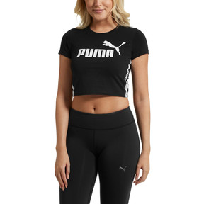 Thumbnail 2 of Tape Logo Women's Cropped Tee, Cotton Black, medium