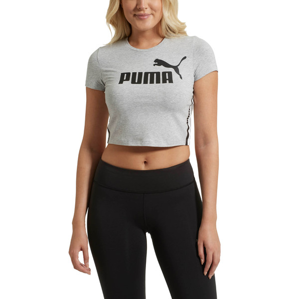 Tape Logo Women's Cropped Tee, Light Gray Heather, large