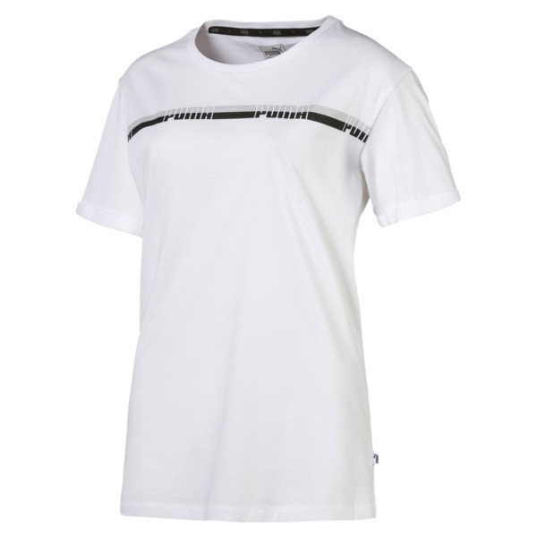 Elongated Women's Tape Tee, Puma White, large