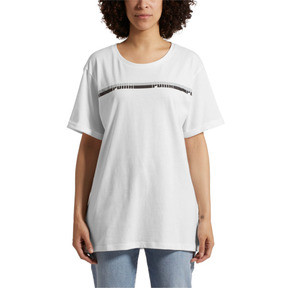 Thumbnail 2 of Elongated Women's Tape Tee, Puma White, medium