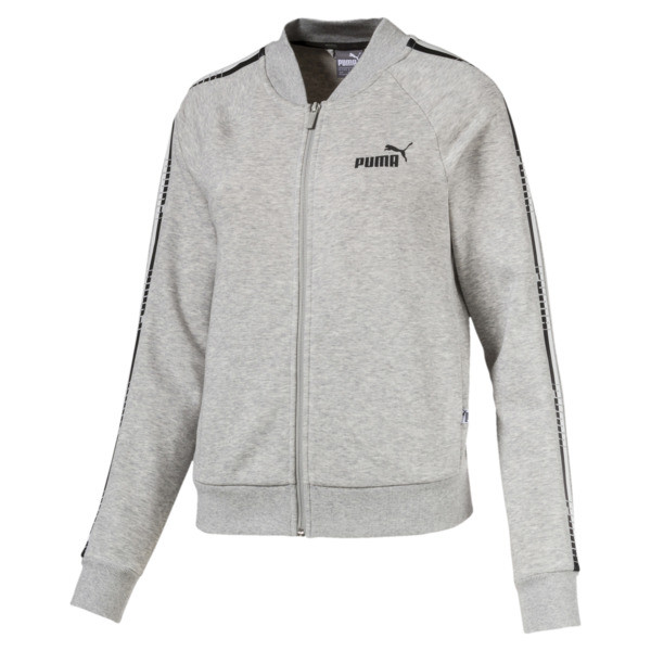 Tape Full Zip Women's Track Jacket, Light Gray Heather, large
