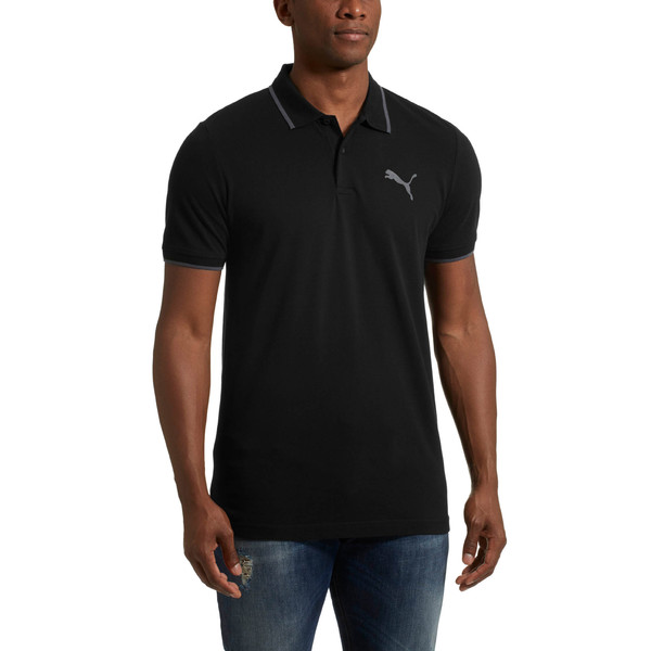 Modern Sports Polo Shirt, Cotton Black, large