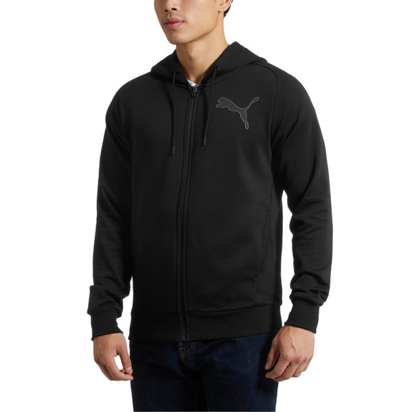 P48 Modern Sport FZ Hoodie, Cotton Black, large