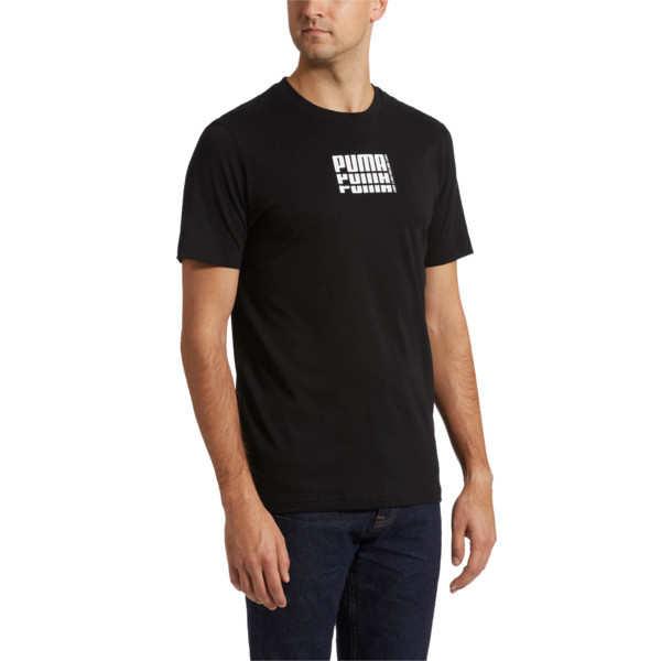 Rebel Up Men's Basic Tee, Cotton Black, large