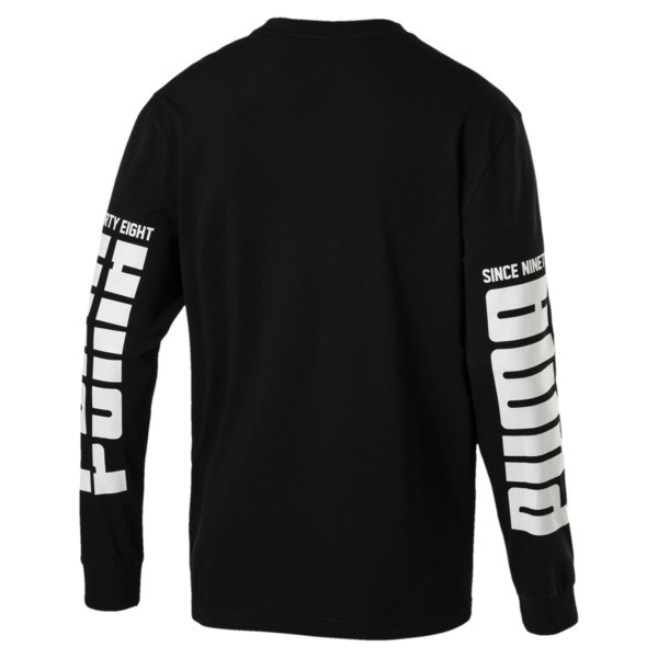 Rebel Up Raglan Long Sleeve Men's Tee, Cotton Black, large