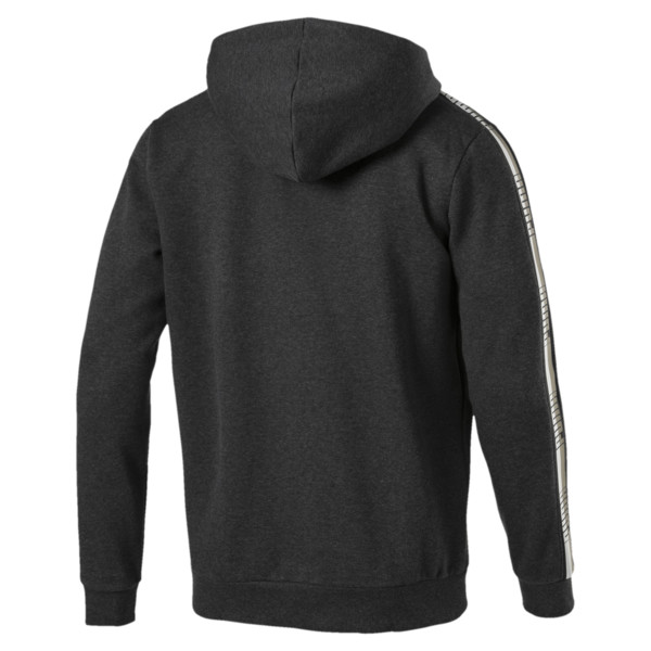 Men's Tape Full Zip Fleece Hoodie, Dark Gray Heather, large
