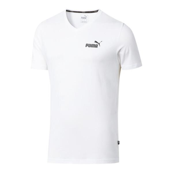 Essentials+ Men's V Neck Tee, Puma White, large