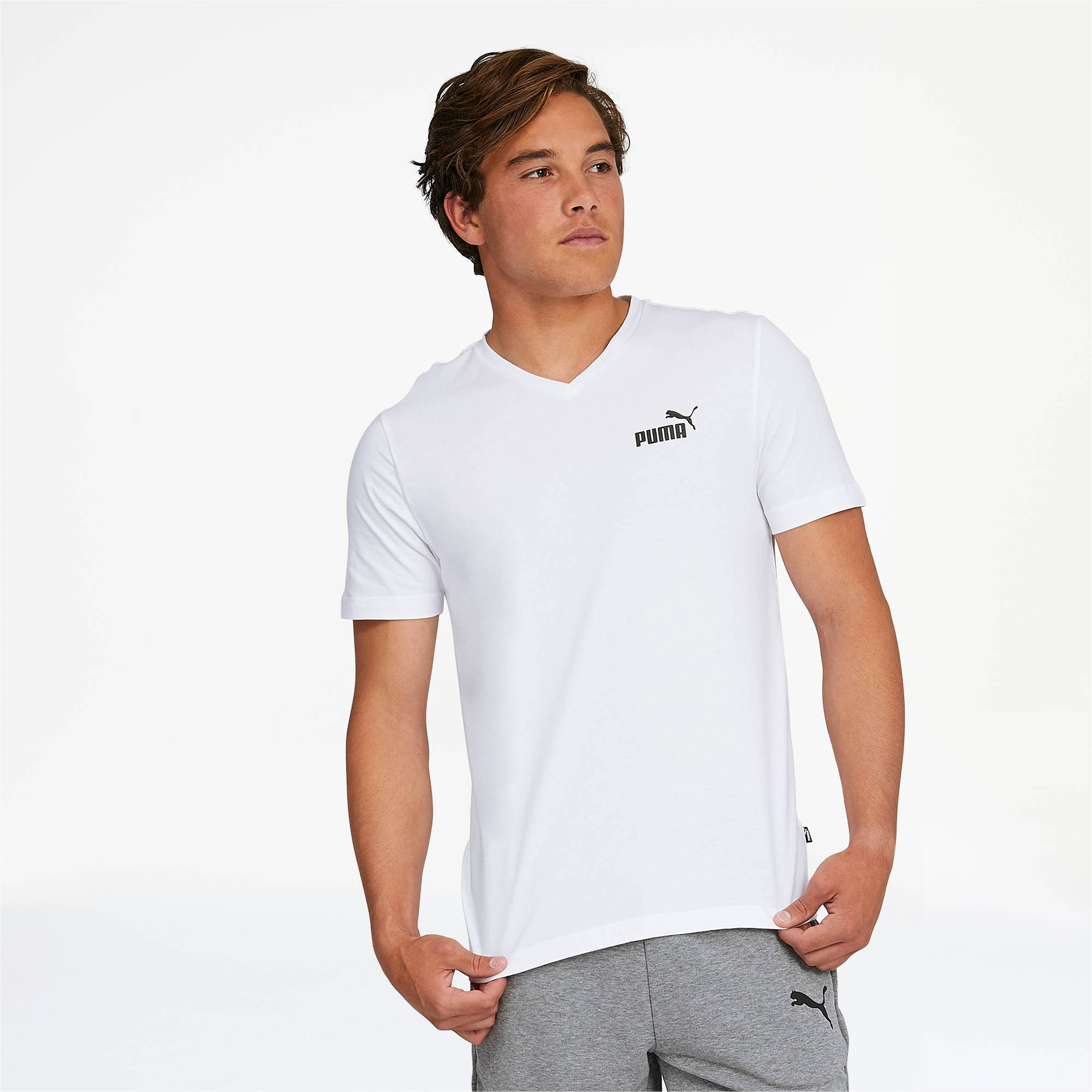 PUMA-Essentials-Men-039-s-V-Neck-Tee-Men-Tee-Basics thumbnail 11