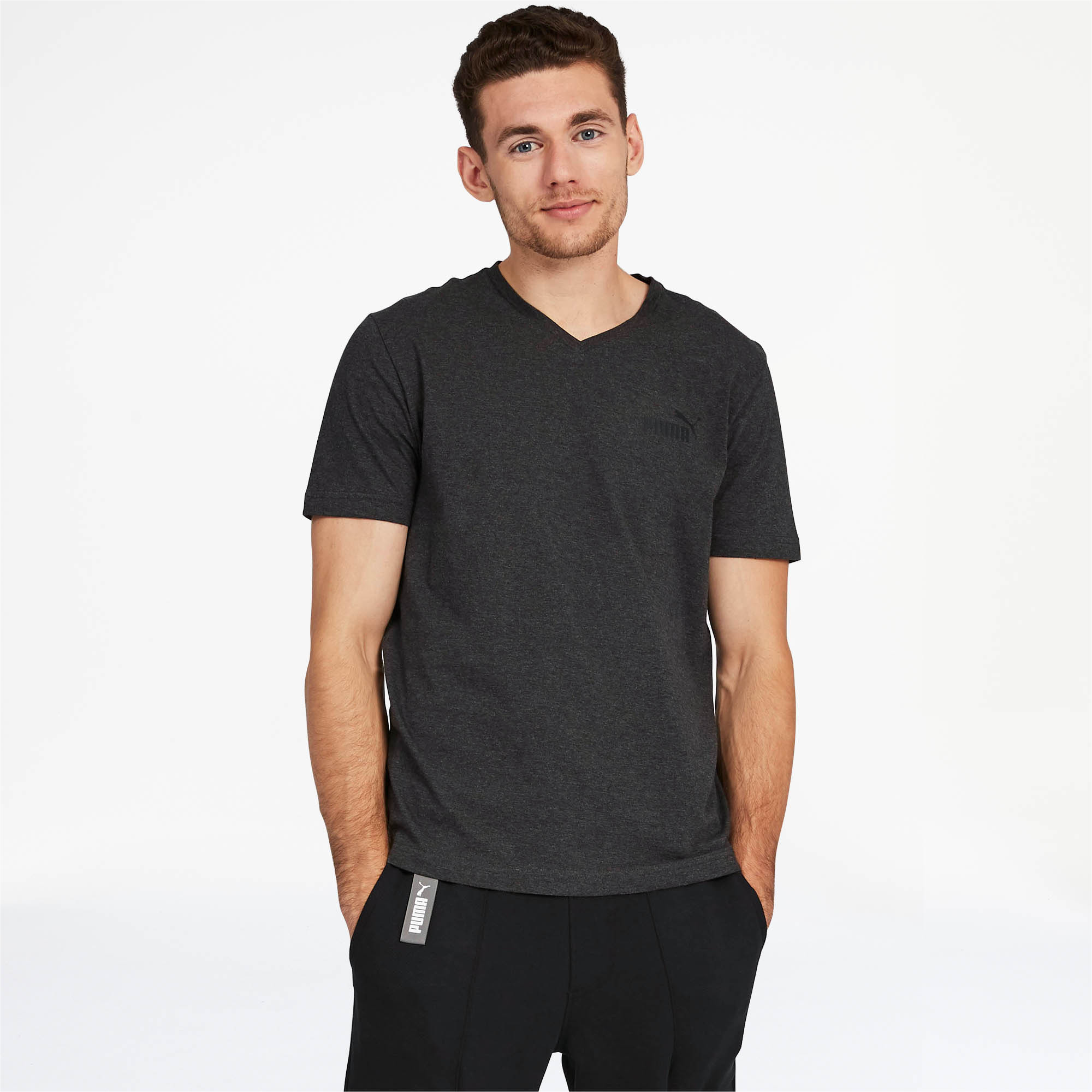 PUMA-Essentials-Men-039-s-V-Neck-Tee-Men-Tee-Basics thumbnail 3