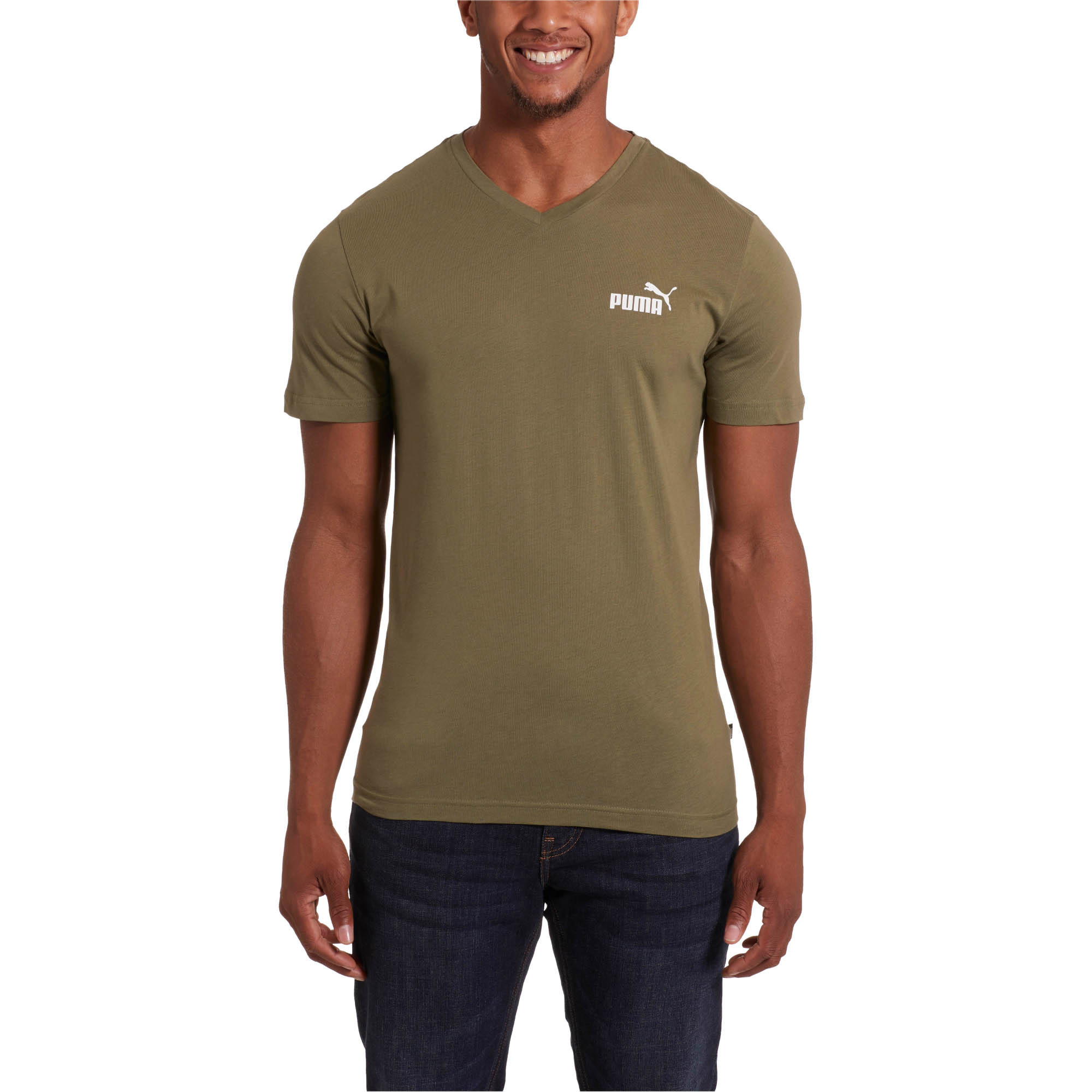 PUMA-Essentials-Men-039-s-V-Neck-Tee-Men-Tee-Basics thumbnail 27