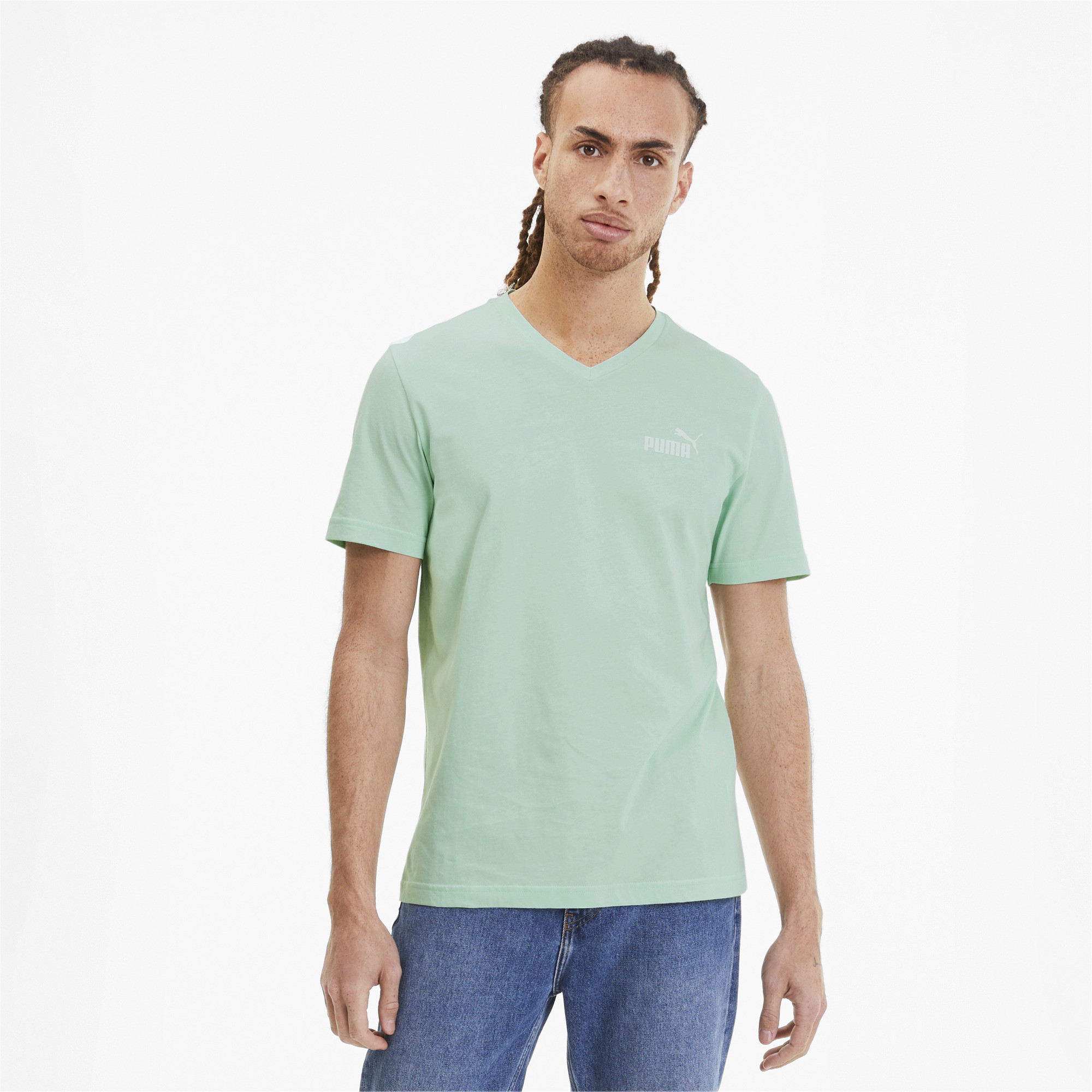 PUMA-Essentials-Men-039-s-V-Neck-Tee-Men-Tee-Basics thumbnail 32