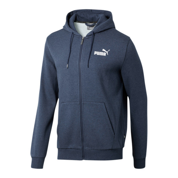 Essentials+ Men's Fleece Hooded Jacket, Peacoat Heather, large