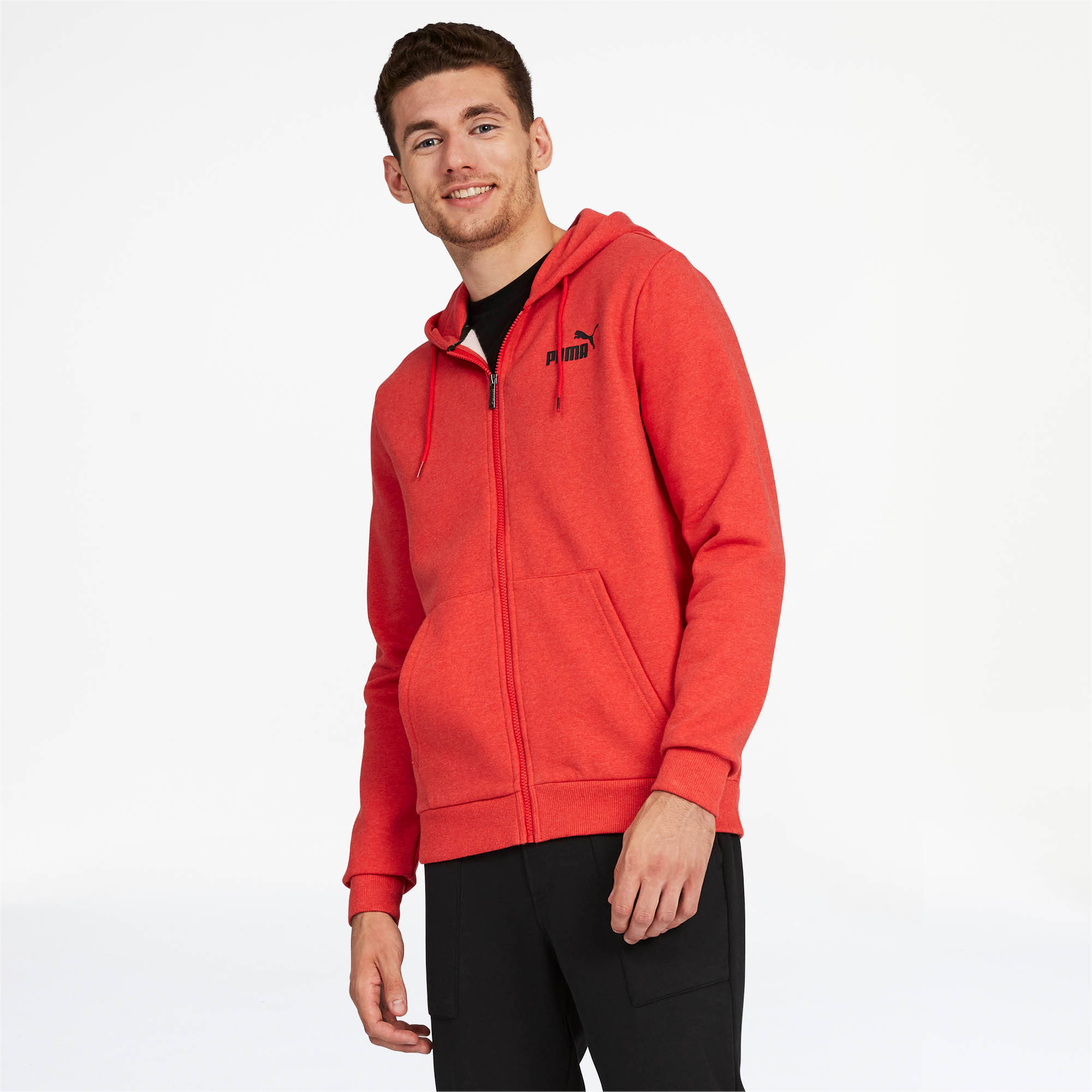 PUMA-Essentials-Men-039-s-Fleece-Hooded-Jacket-Men-Sweat-Basics thumbnail 11