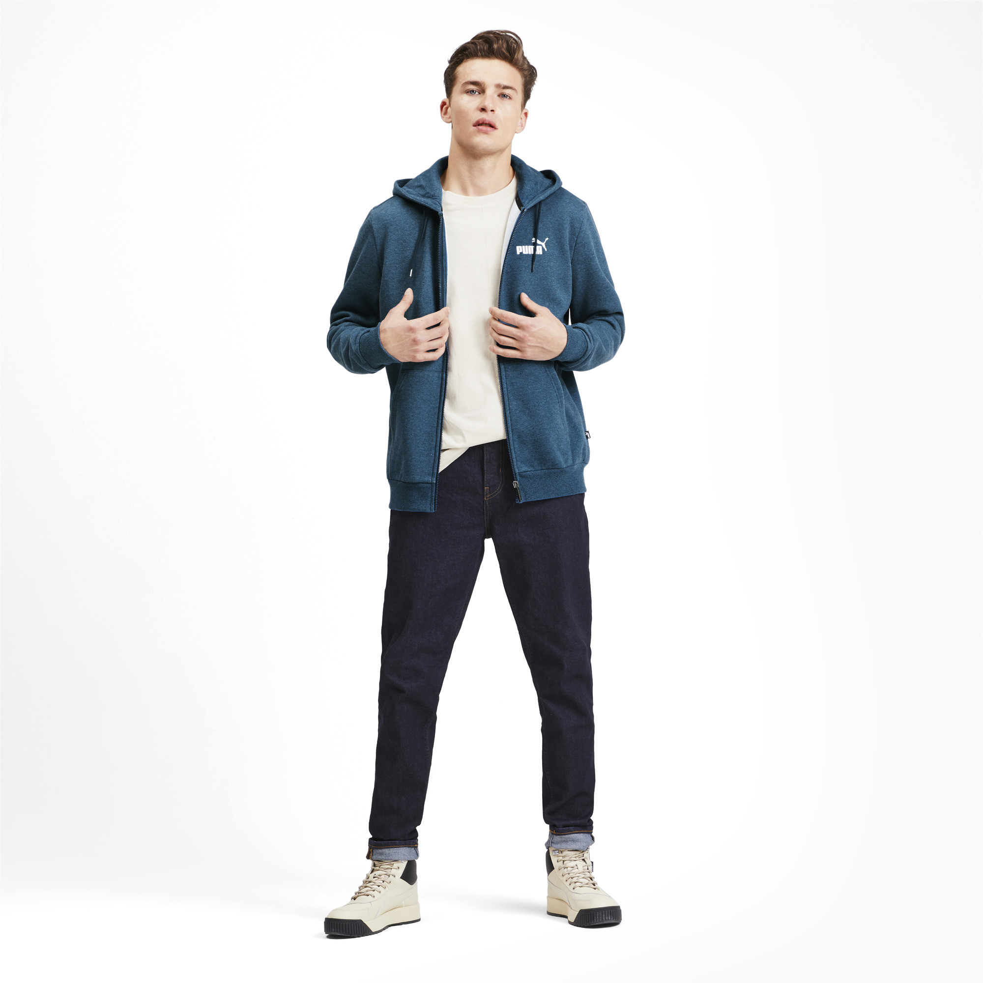 PUMA-Essentials-Men-039-s-Fleece-Hooded-Jacket-Men-Sweat-Basics thumbnail 19