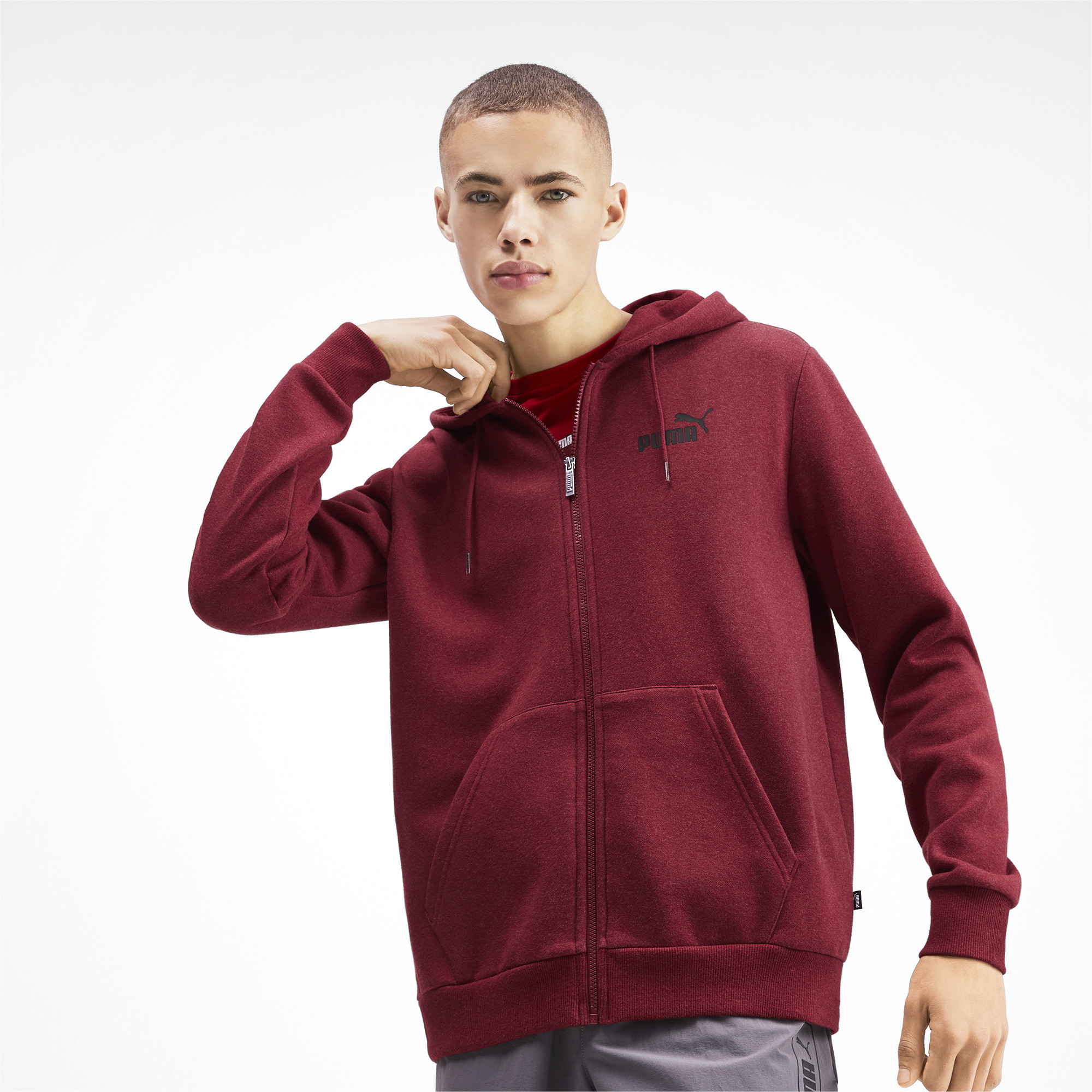PUMA-Essentials-Men-039-s-Fleece-Hooded-Jacket-Men-Sweat-Basics thumbnail 8
