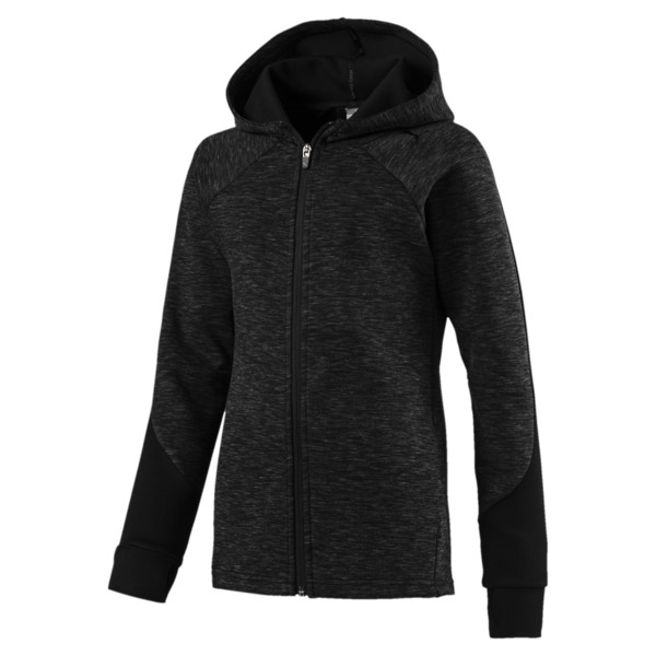 Evostripe Girls' Full Zip Top, Cotton Black, large