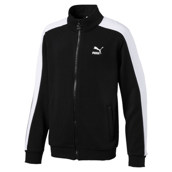 Classics T7 Boys' Track Jacket, Cotton Black, large