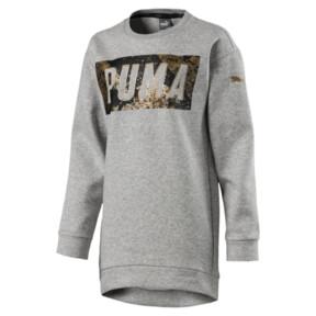 Thumbnail 1 of Style Girls' Long Crew Sweater, Light Gray Heather, medium