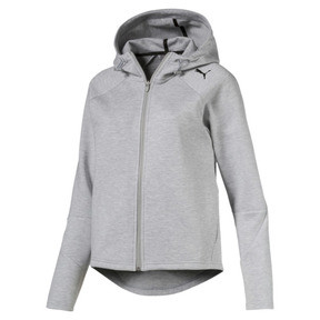 Thumbnail 1 of Active Women's Evostripe Core Full Zip Hoodie, Light Gray Heather, medium