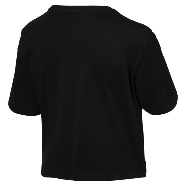 Women's Cropped Logo Tee, Cotton Black, large