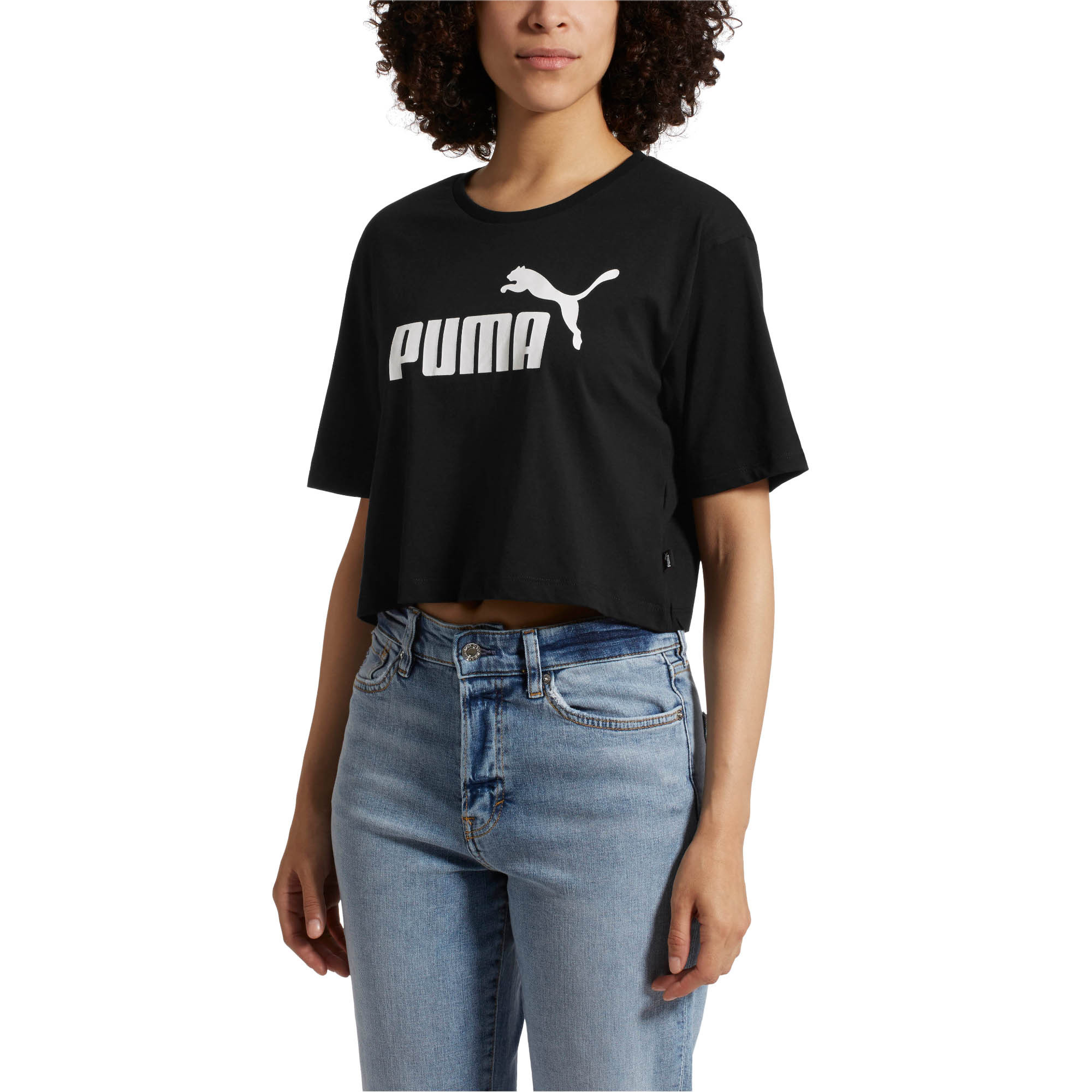 PUMA-Women-039-s-Cropped-Logo-Tee-Women-Crop-Top-Basics thumbnail 4