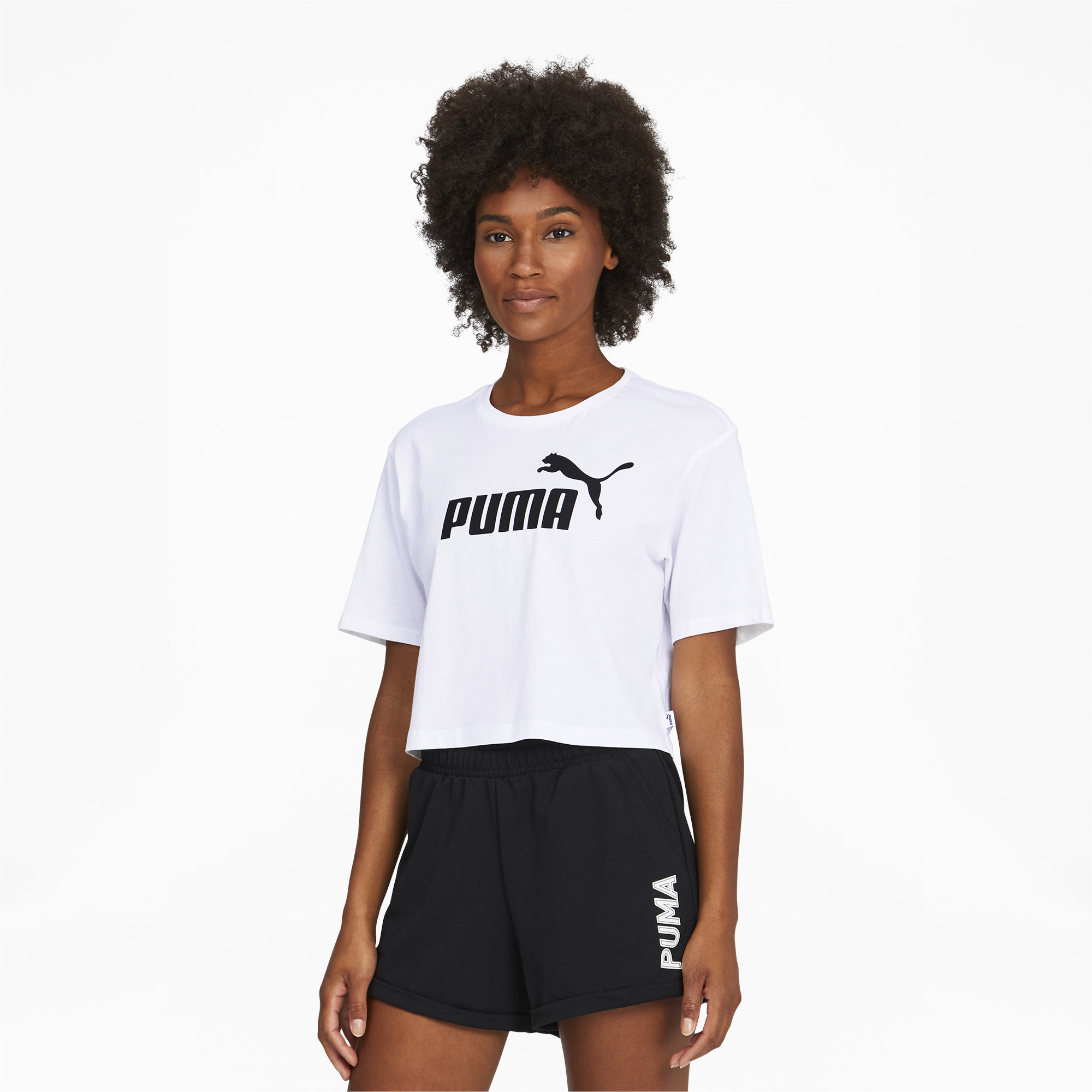 PUMA-Women-039-s-Cropped-Logo-Tee-Women-Crop-Top-Basics thumbnail 7