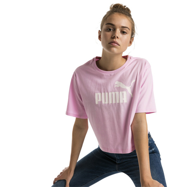 Damen Cropped Logo T-Shirt, Pale Pink, large