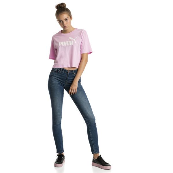 T-Shirt Cropped Logo pour femme, Pale Pink, large