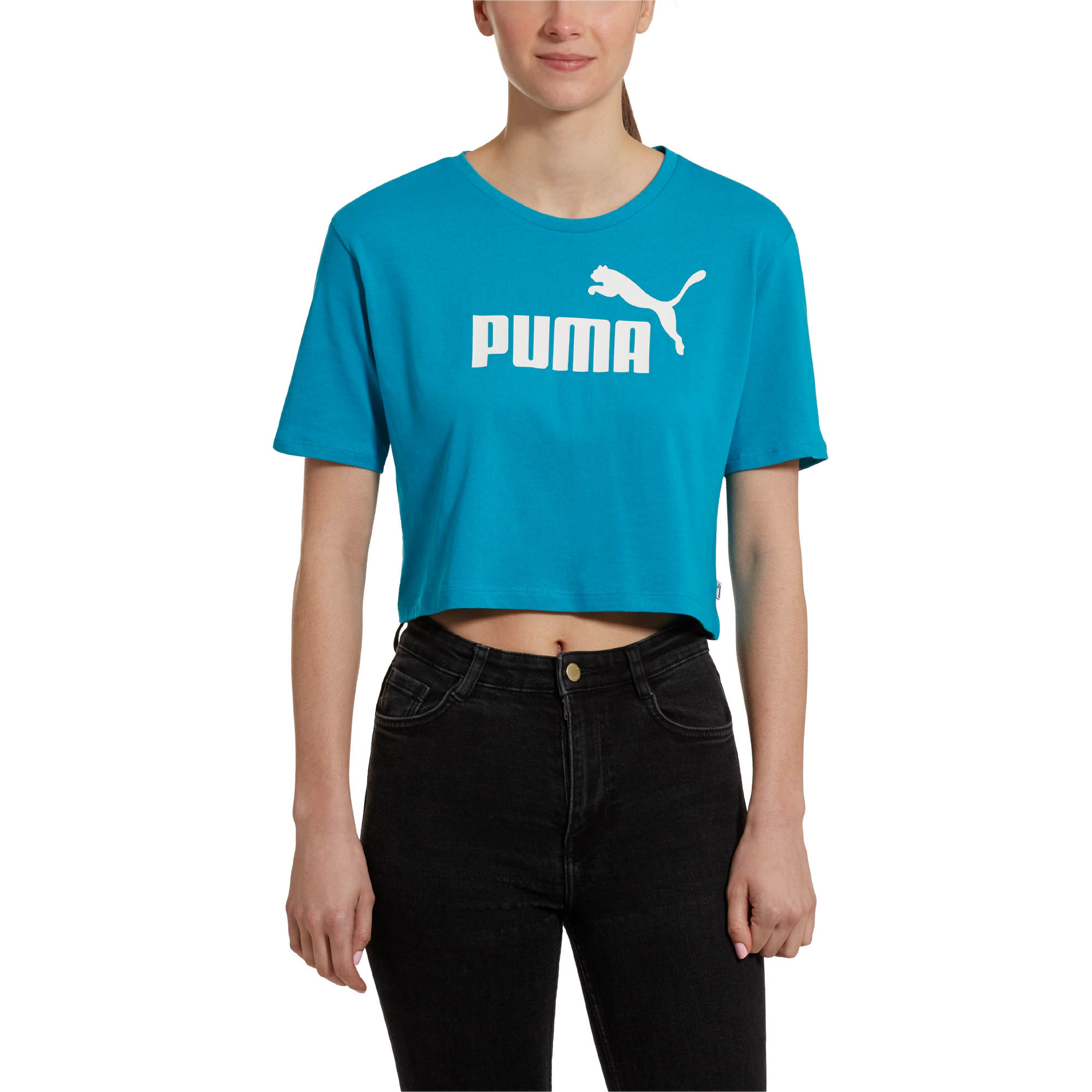 PUMA-Women-039-s-Cropped-Logo-Tee-Women-Crop-Top-Basics thumbnail 3