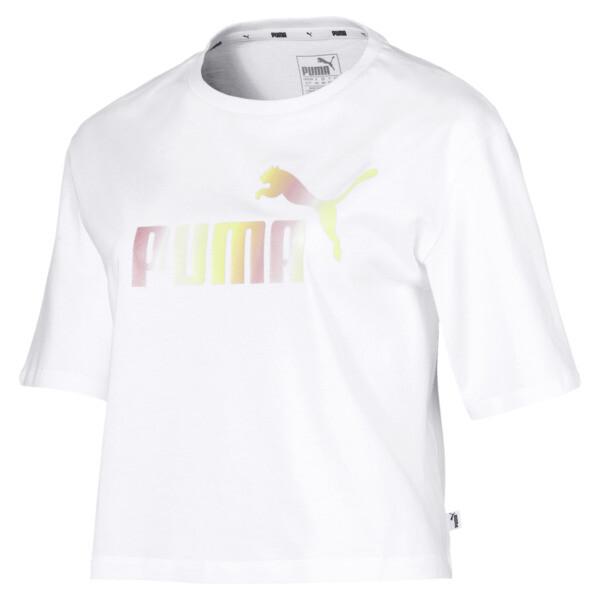 Camiseta corta con logo para mujer, Puma White, grande