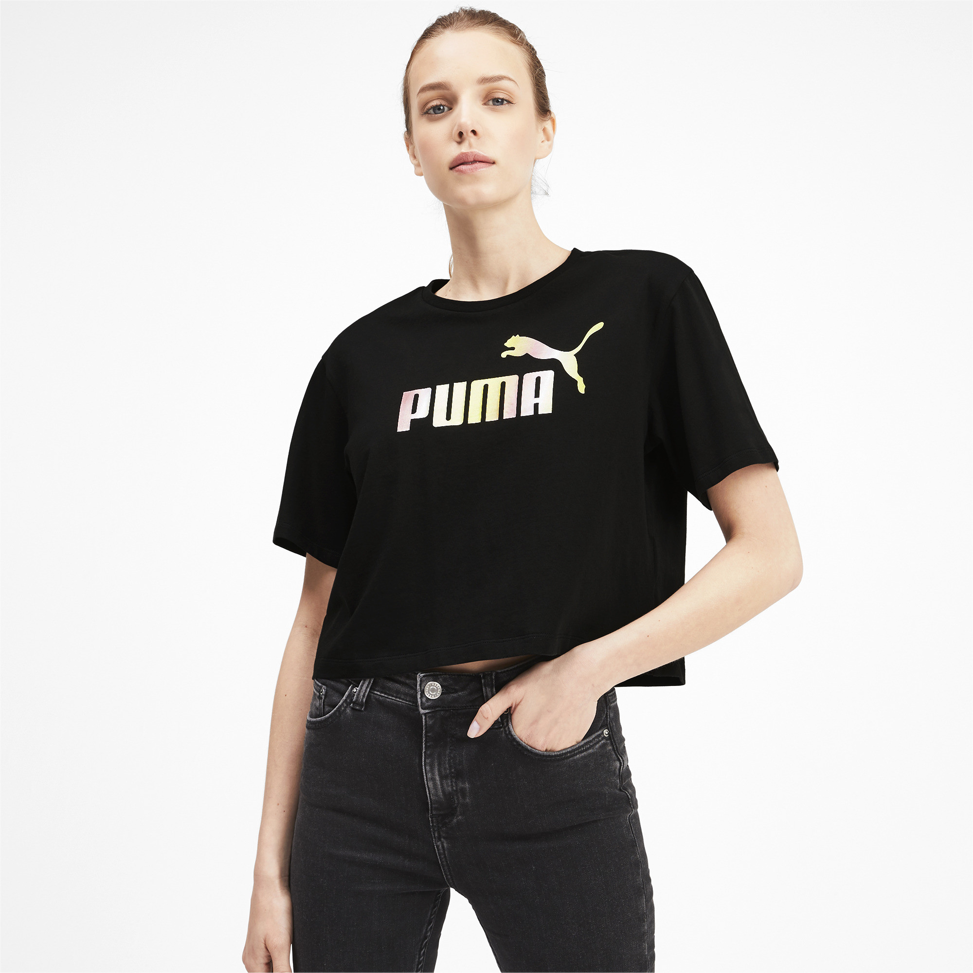 PUMA-Women-039-s-Cropped-Logo-Tee-Women-Crop-Top-Basics thumbnail 16