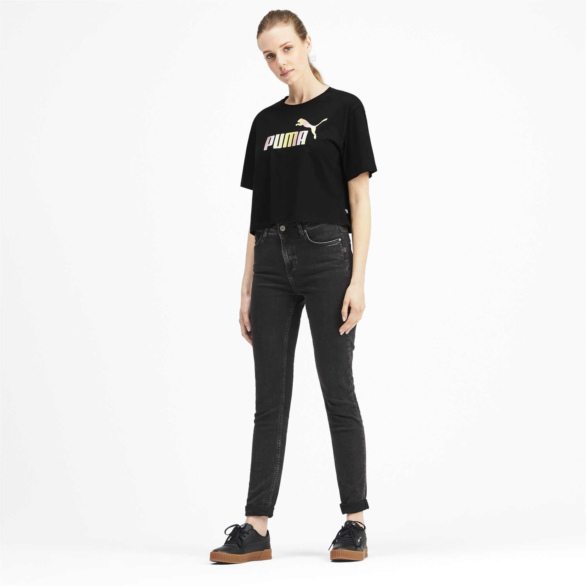 PUMA-Women-039-s-Cropped-Logo-Tee-Women-Crop-Top-Basics thumbnail 18