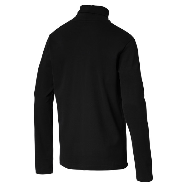 Men's Turtleneck Sweater, Cotton Black, large