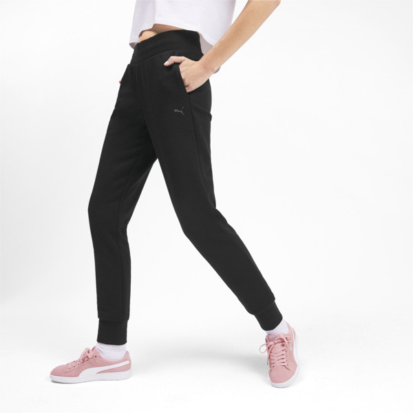 Essentials Women's Fleece Sweatpants, Puma Black, large
