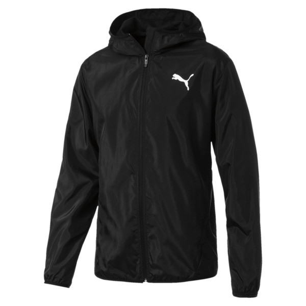 Hooded Zip-Up Men's Windbreaker, Puma Black, large
