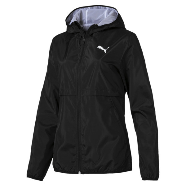 Hooded Zip-Up Women's Windbreaker, Puma Black, large