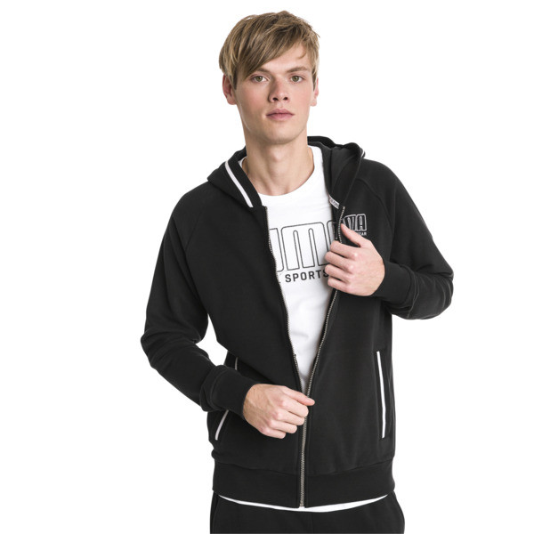 Athletics Men's Hooded Jacket, Cotton Black, large