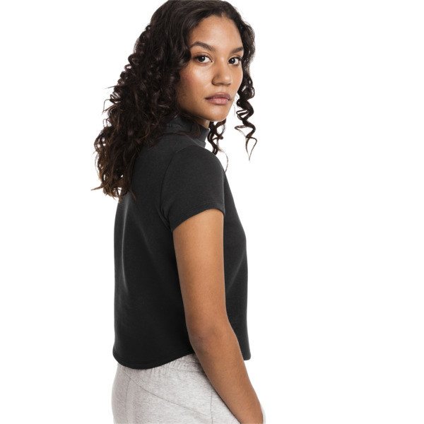 Evostripe Move Women's Sweat Tee, Cotton Black, large