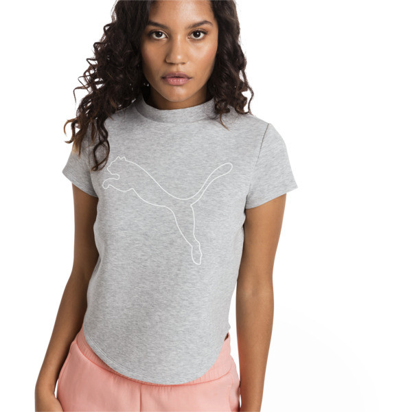 Evostripe Move Women's Sweat Tee, Light Gray Heather, large