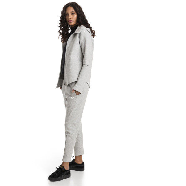 Evostripe Move Zip-Up Women's Hoodie, Light Gray Heather, large