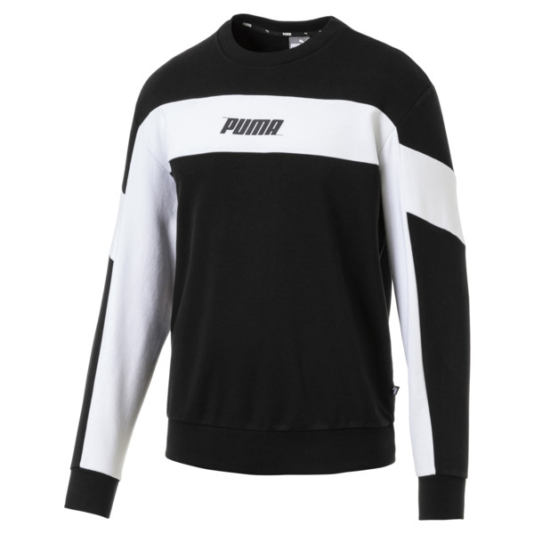 Rebel Crew Neck Men's Sweater, Cotton Black, large