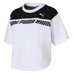 Thumbnail 4 of Modern Sports Cropped Women's Sweat Tee, Puma White-Black, medium